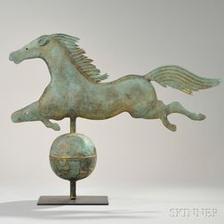 Molded and Sheet Copper Leaping Horse Weathervane on Stand