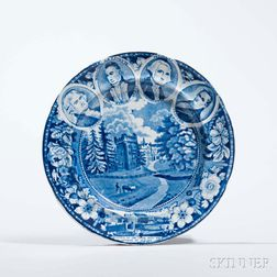 Staffordshire Historical Blue Transfer-decorated Four-Portrait Medallion Plate