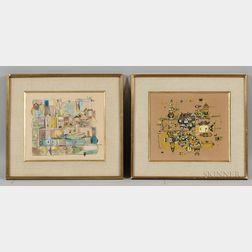 German School, 20th Century      Two Works on Paper: Hafen von Sandvig (Bornholm)