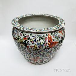 Polychrome Enameled Ceramic Fish Bowl