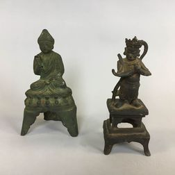 Two Bronze Figures of Guandi and Amitabha Buddha