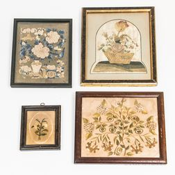 Four Framed Silk Embroidered Floral Pictures