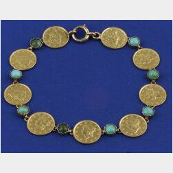 14kt Gold and Turquoise Coin Bracelet