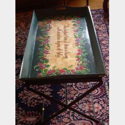Paint Decorated Motto Tray on Iron Stand, The Highest Form of Bliss is Living with a Certain Degree of Folly.
