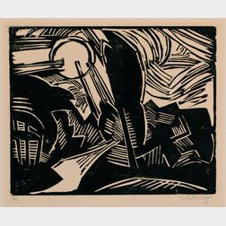 Karl Schmidt-Rottluff (German, 1884-1976)      Landschaft mit Sonne