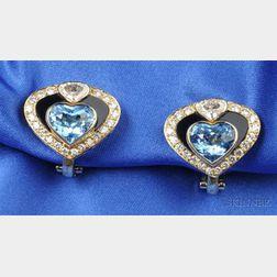 18kt Gold and Gem-set Heart Earclips, Marina B., France