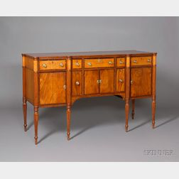 Federal Carved Mahogany and Bird's-eye Maple Inlaid Sideboard