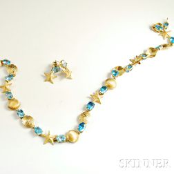 14kt Gold and Blue Topaz Jewelry Suite