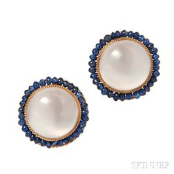 14kt Gold, Cat's-eye Moonstone, and Sapphire Earclips