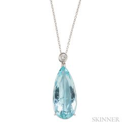 18kt White Gold, Aquamarine, and Diamond Pendant Necklace