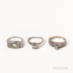 Three White Gold Gem-set Rings