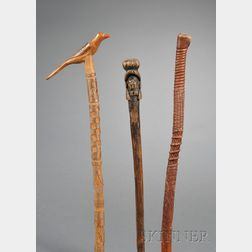 Three Carved and Painted Walking Sticks