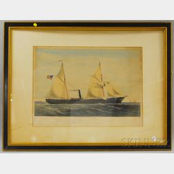 "Framed 19th Century Shearman & Hart Lithograph U.S. Steam Gun Boat ""Ottawa"".   Built at the Westervelt Shipyard"