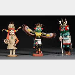 Three Hopi Carved Wood Kachinas