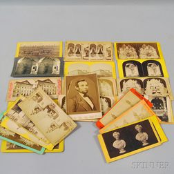 Twenty-four Abraham Lincoln-related Stereo Viewing Cards, and a Portrait of Lincoln   Cabinet Card