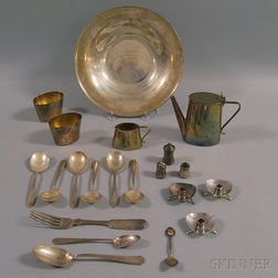 Small Group of Sterling Silver and Silver-plated Tableware and Flatware