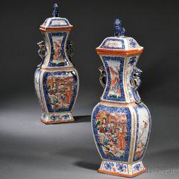Pair of Chinese Export Porcelain Mandarin Palette Covered Garniture Vases