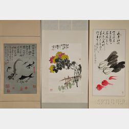 Three Hanging Scrolls of Chinese Paintings
