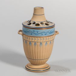 Wedgwood Encaustic Decorated Caneware Potpourri Vase and a Cover