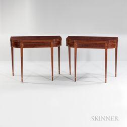 Pair of Figured Mahogany Veneer Inlaid Double Swing-leg Card Tables
