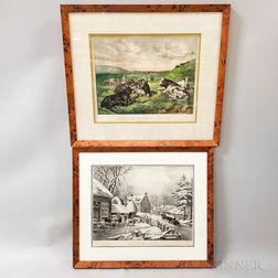 Framed Currier & Ives Hand-colored Lithographs Winter Morning   and Hillside Pastures-Cattle
