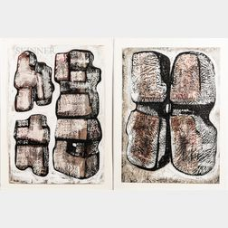 Oreste Dequel (Italian, 1923-1989)      Two Abstract Works on Paper.