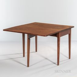 Red-stained Cherry and Pine Single Drop-leaf Table