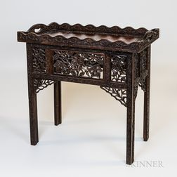 Carved Wood Tray on Folding Legs