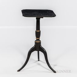 Federal Black-painted Queen Anne Candlestand