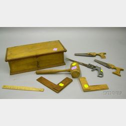 Childs Ash Toy Tool Box with Tools.