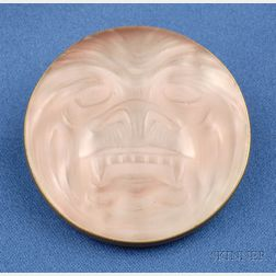 Molded Glass Grotesque Mask Brooch, Lalique