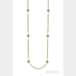18kt Gold, Nephrite, and Cultured Pearl Long Chain, Pomellato