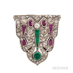 Art Deco Platinum Gem-set Dress Clip