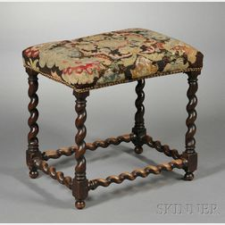 Jacobean-style Tapestry Upholstered Stool