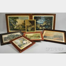 Seven 19th Century Hand-colored Castles and Landscapes Lithographs