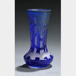 Le Verre Francais Chicorees Cameo Glass Vase