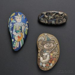 Three Ilya Schor Hand-painted Beach Pebbles