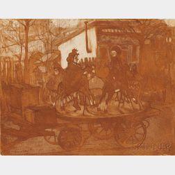 Jacques Villon (French, 1875-1963)      Manège rue Caulaincourt ou Le petit manège aux chevaux de bois