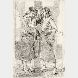 Isabel Bishop (American, 1902-1988)      Two Girls Outdoors