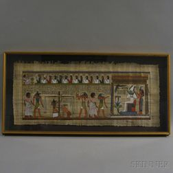 Framed Egyptian-style Painting on Papyrus
