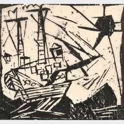 Lyonel Feininger (German/American, 1871-1956)      Das Schiff (mit Sonne)
