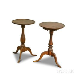 Two Queen Anne Cherry Candlestands