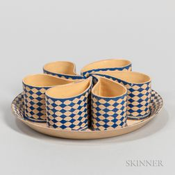 Staffordshire Enameled Caneware Custard Set with Tray