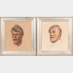 Ferdinand Spiegel (German, 1879-1950)      Two Framed Portraits of WWI Soldiers