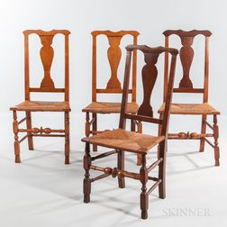 Set of Four Country Queen Anne Rush-seat Spanish-foot Side Chairs