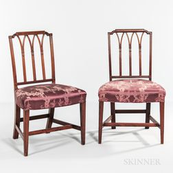 Pair of Mahogany Inlaid Square-back Side Chairs