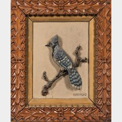 James Walter Folger Carved and Painted Blue Jay Plaque
