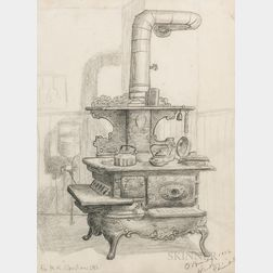 Gertrude O'Brady (American, 1904-1985)      Two Framed Drawings: Stove