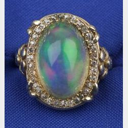 Arts and Crafts Opal and Diamond Ring
