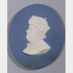 Solid Blue Jasper Oval Portrait Medallion of Benjamin Franklin